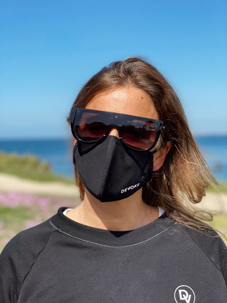 Devoke Fashion Mask fitted is made to size to fit your nose, mouth and chin. Choose between different Designs and colors to match with your outfits