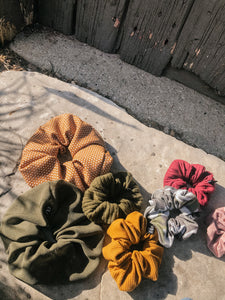 Mustard Dotted Dinner Scrunchie