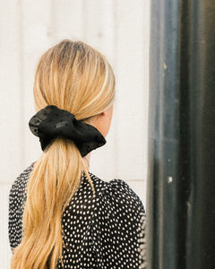 Black Dot Chiffon Dinner Scrunchie