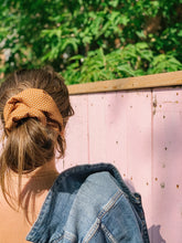 Load image into Gallery viewer, Mustard Dotted Dinner Scrunchie