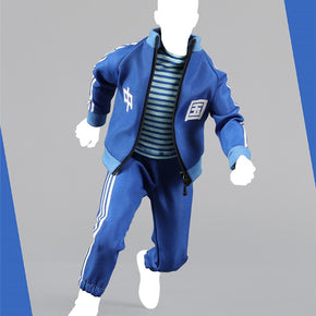 1/6 Men's Casual Sports Clothes Set Coat Pants and T shirt Red Blue for 12''Action Figures Bodies