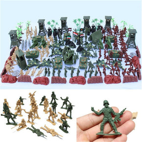 170pcs/set Military Plastic Model Toy  Army Men Figures & Accessories Playset Kit Decor Gift Model Toys For Children