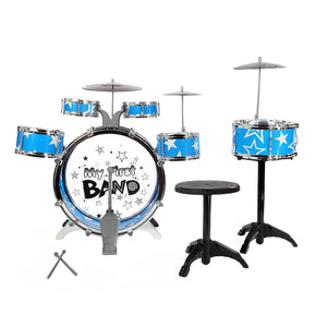 Kids Drums Kit Musical Instrument Toy with Cymbals Stool Christmas Birthday Gift