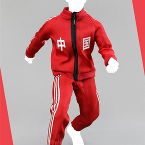 A007 1/6 Men's Casual Sports Clothes Set Coat Pants and T shirt Red Blue for 12''Action Figures Bodies