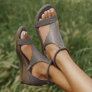 (BUY 2 FREE SHIPPING ONLY TODAY!!!)Pairmore Women Casual Leather Comfy Wedge Sandals