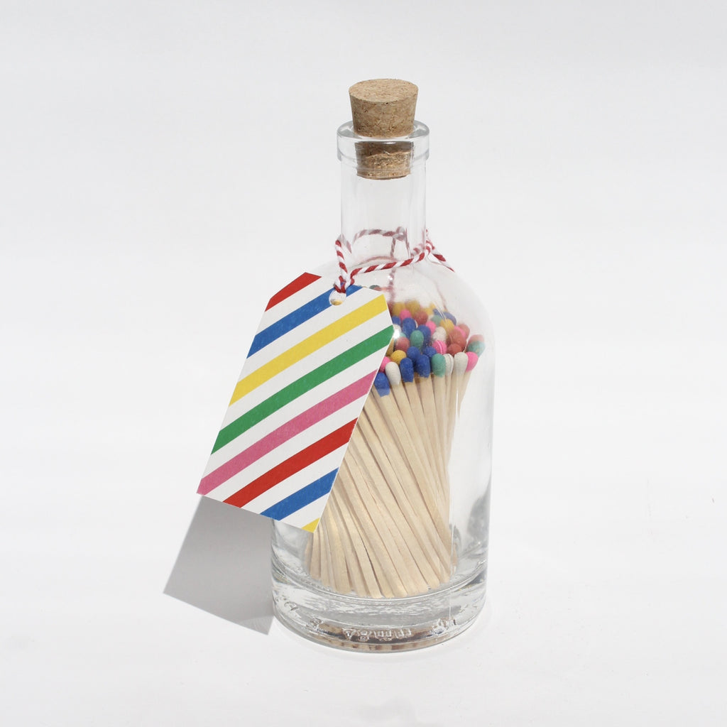 Long Multi Coloured Matches in Apothecary Glass Jar jpg
