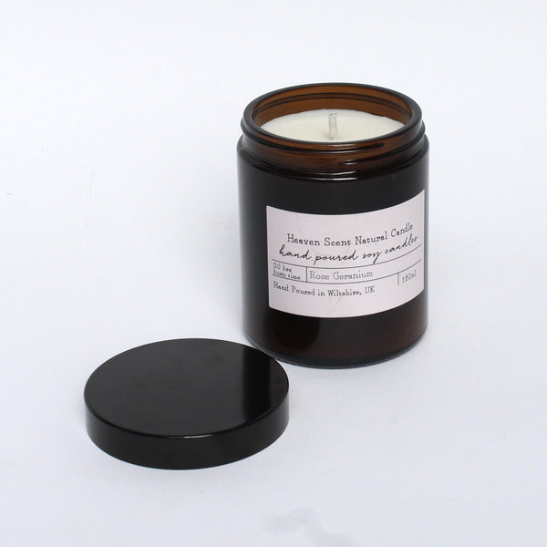 Heaven Scent soy candle recycled jar rose geranium
