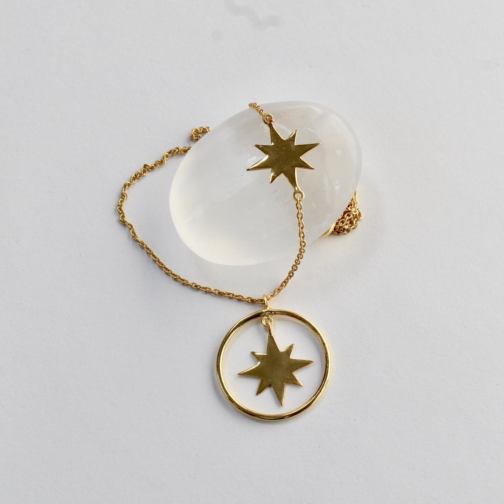 Gold plated double star and hoop necklace jpg
