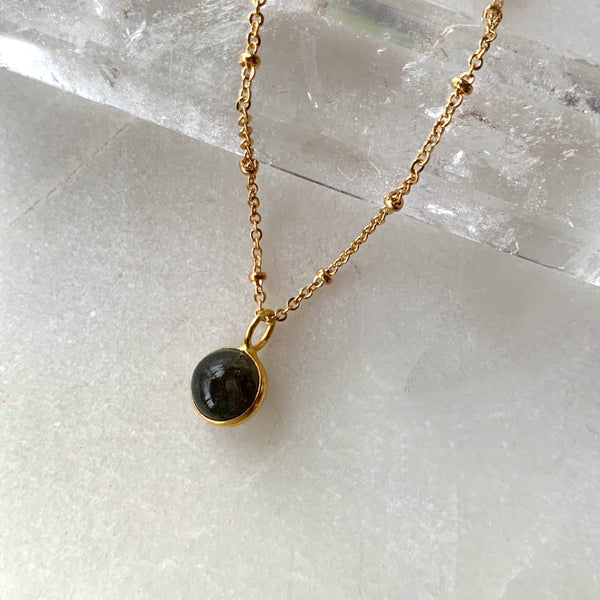SEmi precious orb new gold plated necklace .jpg