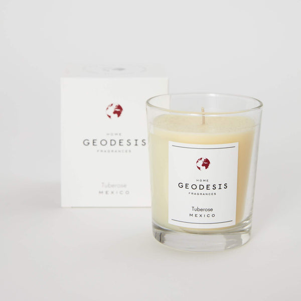 Geodesis tuberose french scented candle glass jar jpg