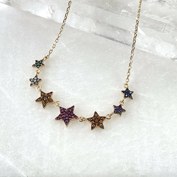 Star gold plated silver necklace semi precious stones jpg