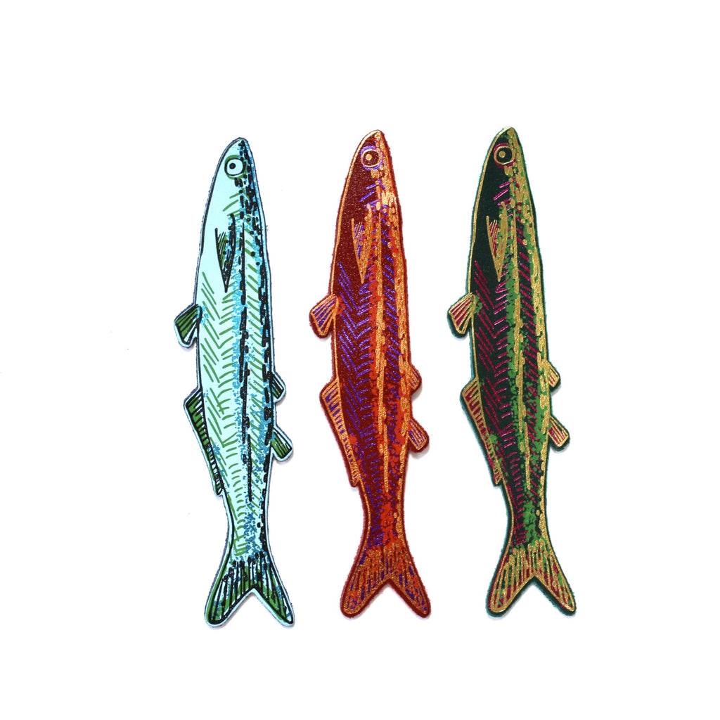 Fish bookmark Ark foil embossed leather men's gift jpg