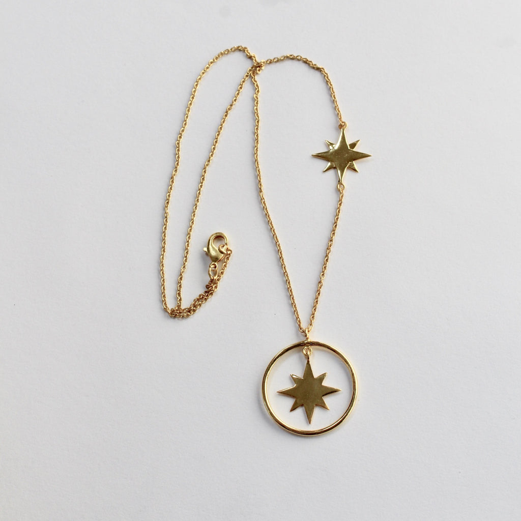 Gold plated star and hoop necklace jpg
