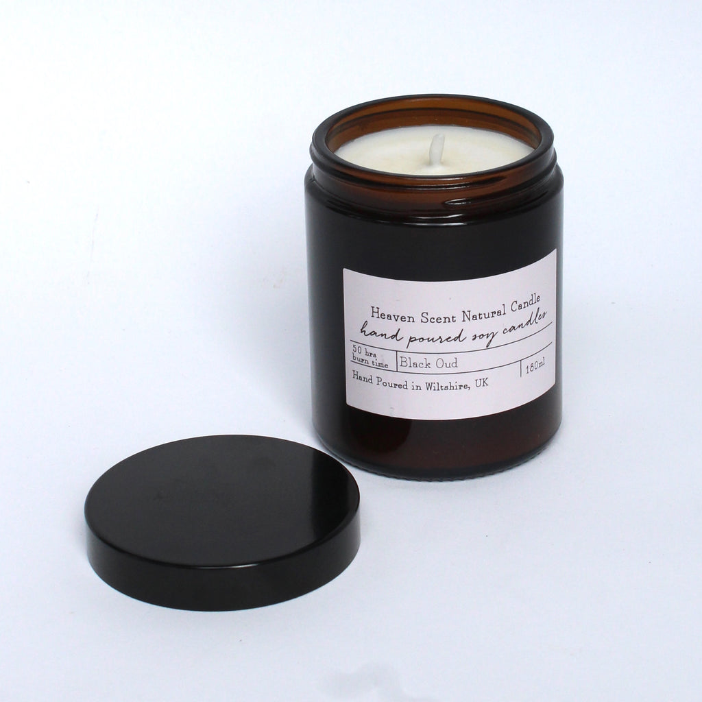 Black out scented candle brown glass jar jpg