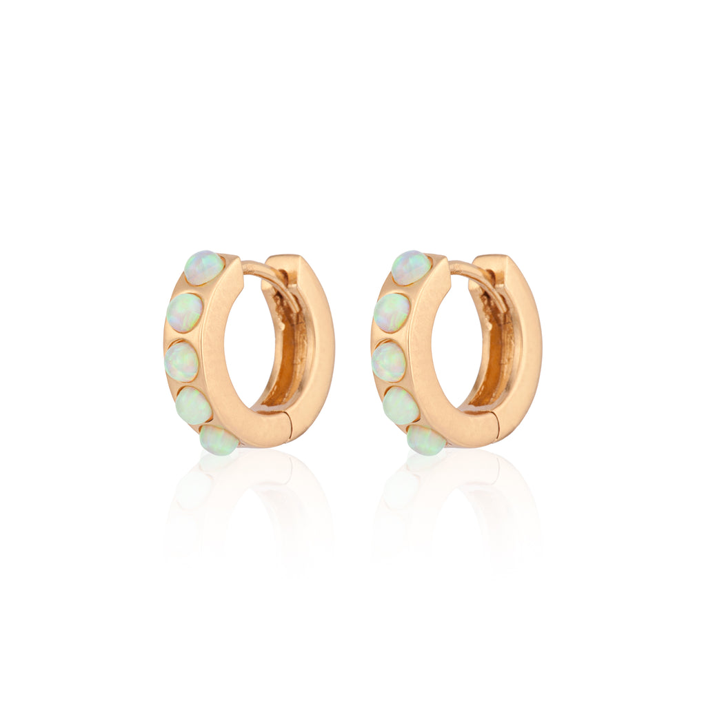 Opal Huggie  hoop earring gold green opal  Screasm pretty jpg