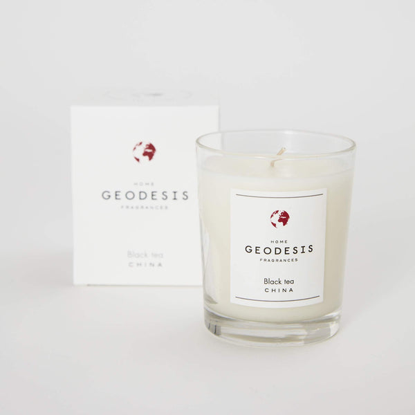 Geodesis black tea scented candle 180g china glass jar jpg