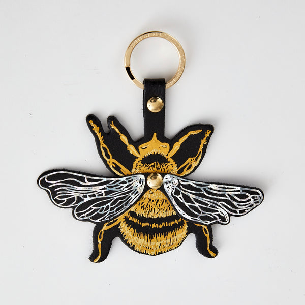 Bee leather keyring Ark bag tag jpg