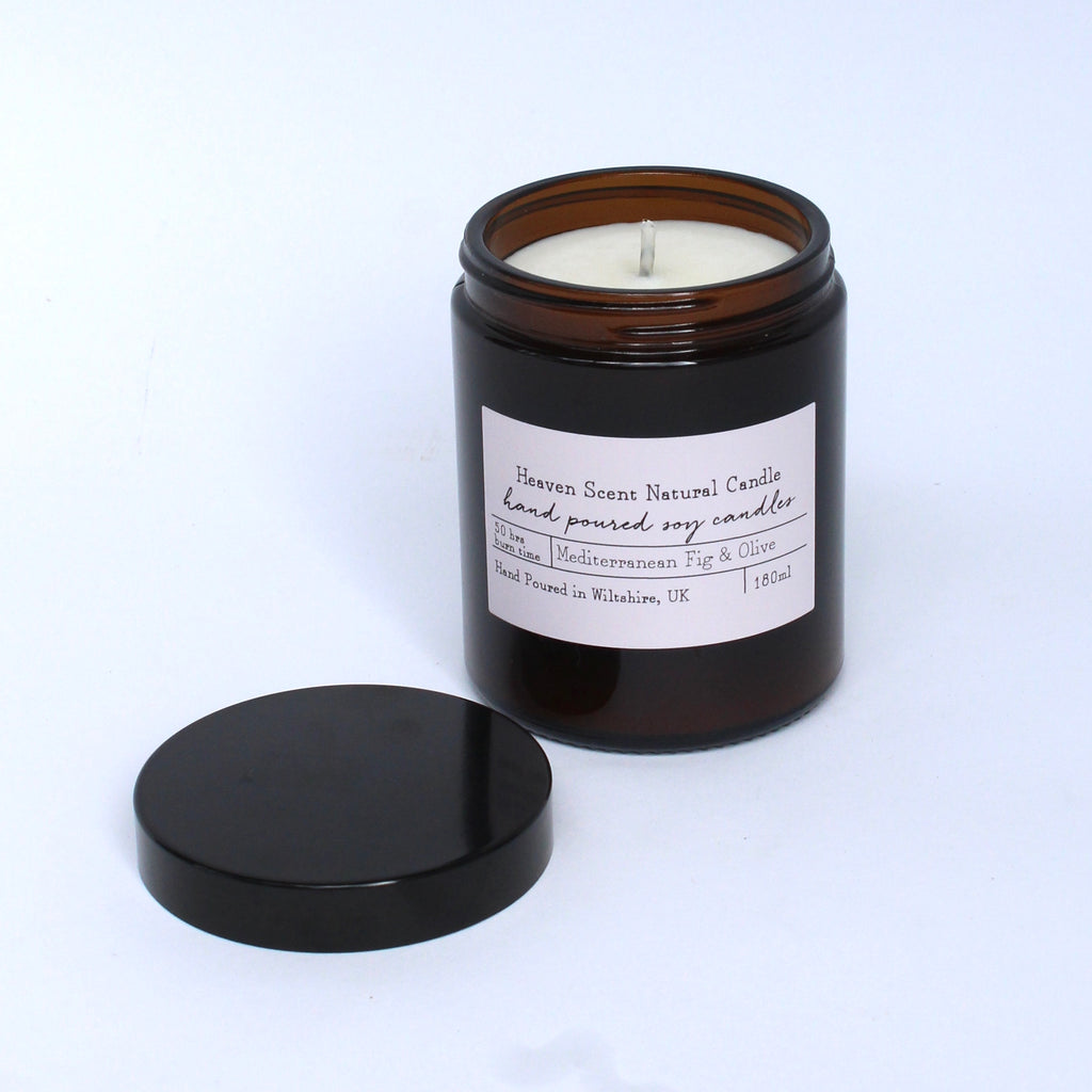 Fig and olive heaven scent candle brown glass recycled jar jpg