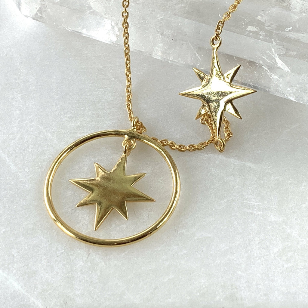 Gold plated two star necklace jpg