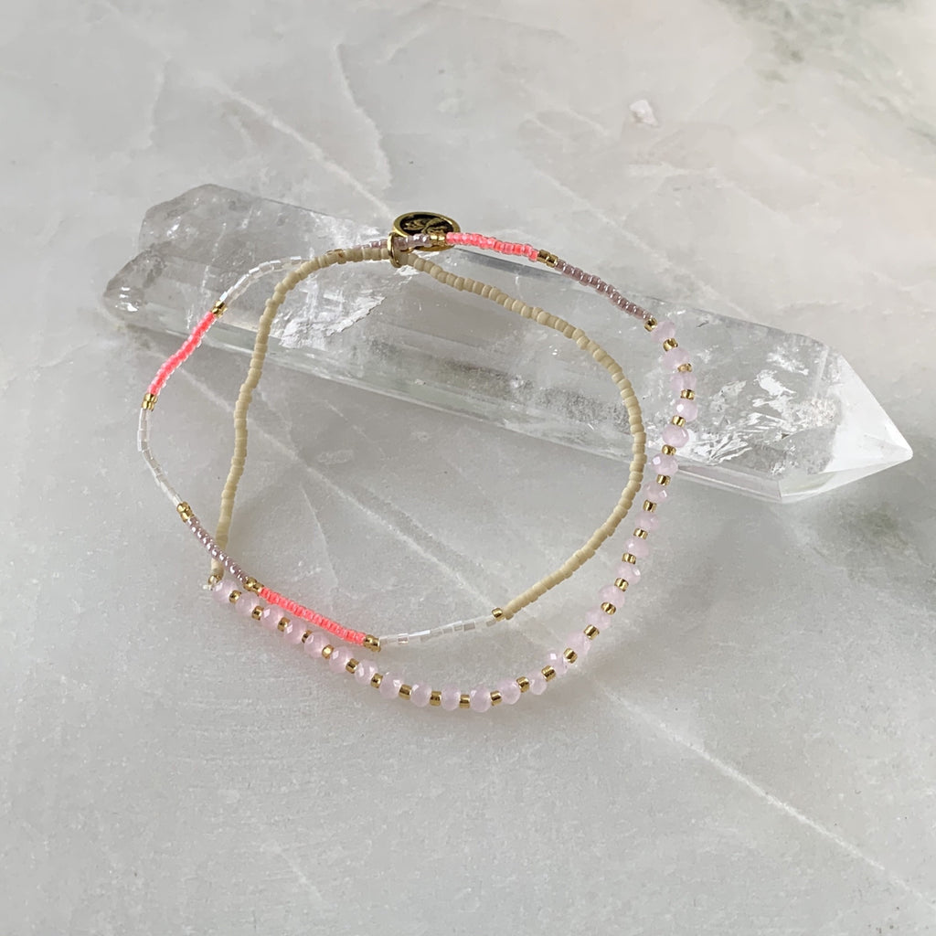 Double stretch pink elasticated bracelet jpg