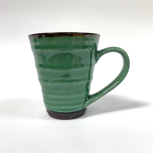 Stoneware green cream ridged mug cup .jpg