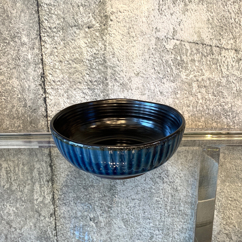 ridged blue ceramic cereal bowl black inside .jpg