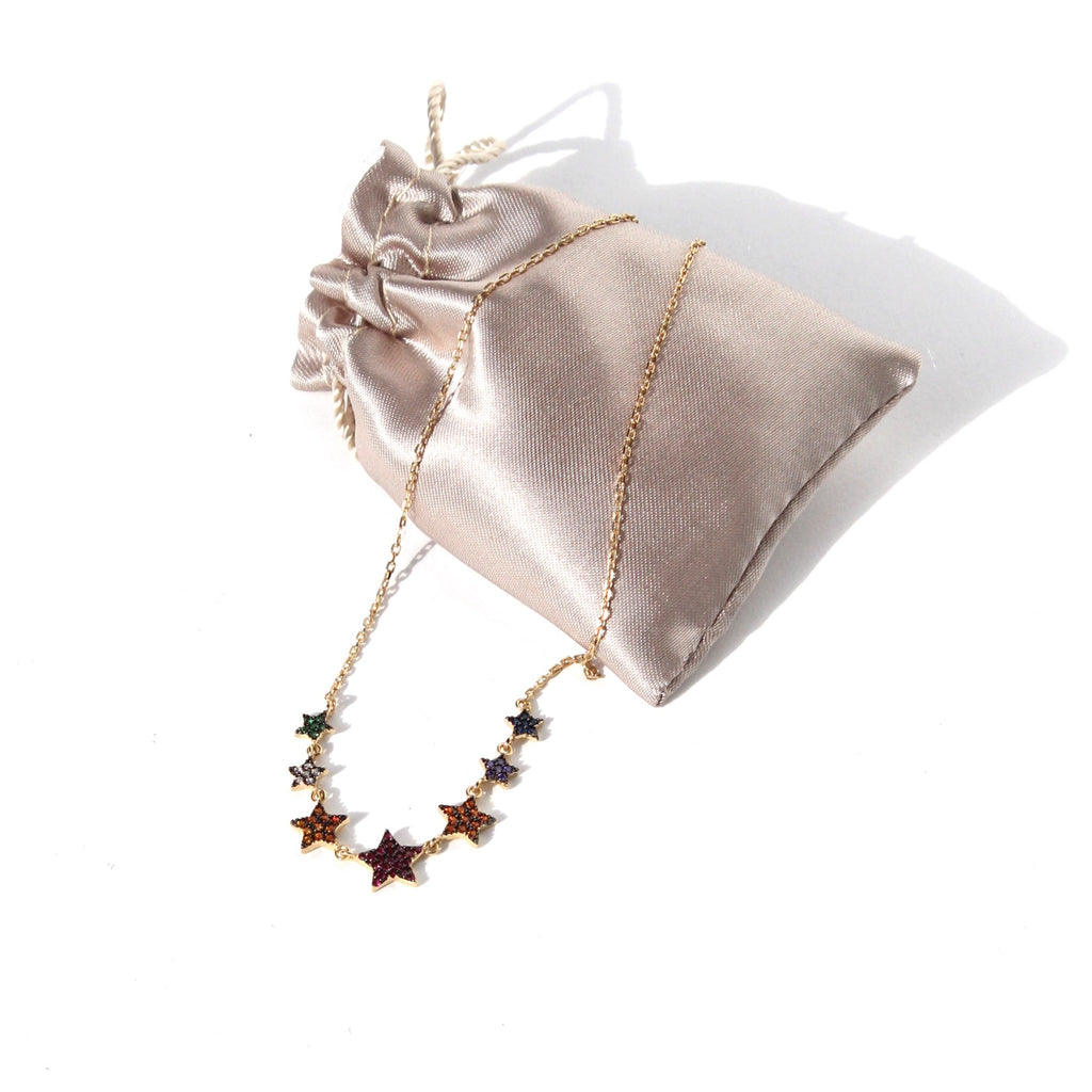 Star necklace multi coloured gold plated jpg