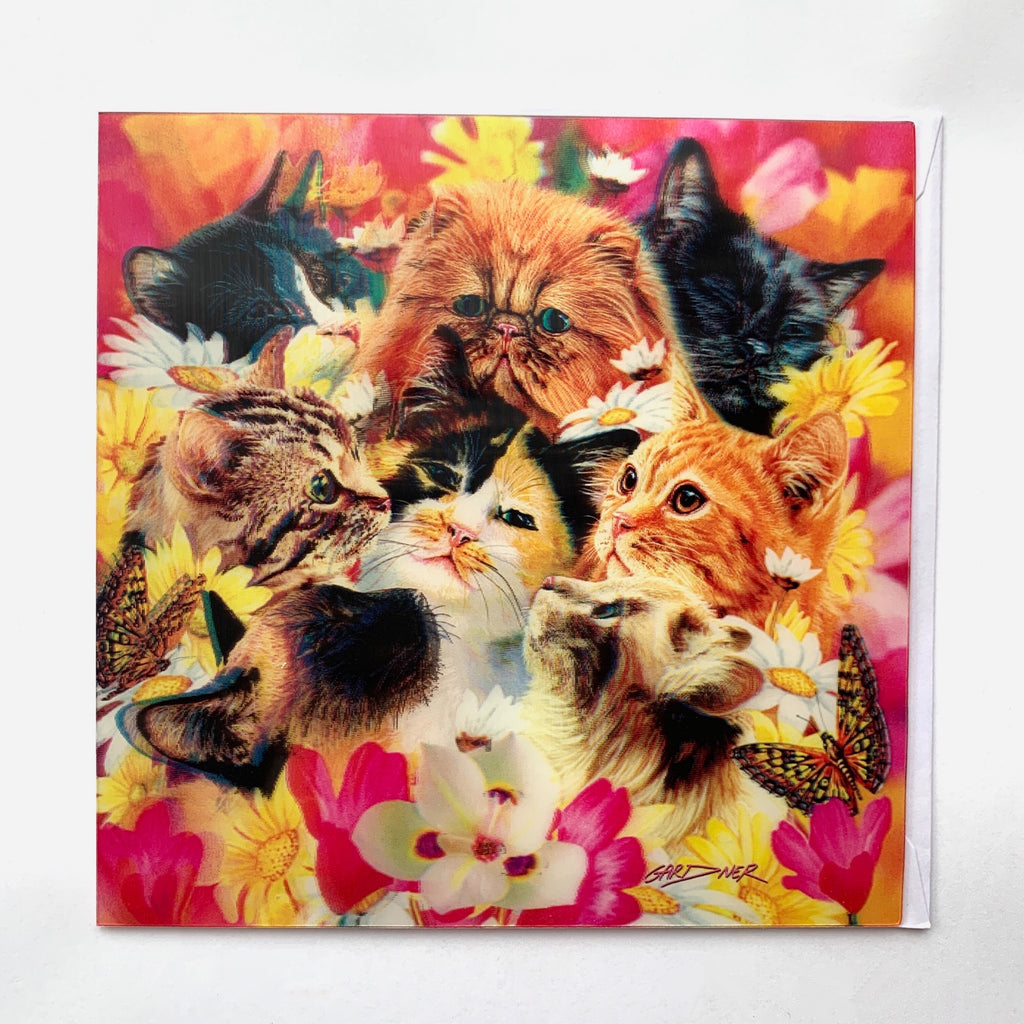 3D Litter of Cats Greeting Card