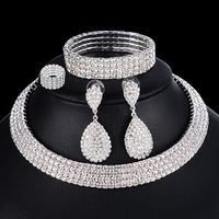 4 PCS Luxury Wedding Bridal Jewelry Sets for Brides Women Necklace Bracelet Ring Earring Set Elastic Rope Crystal Jewelry