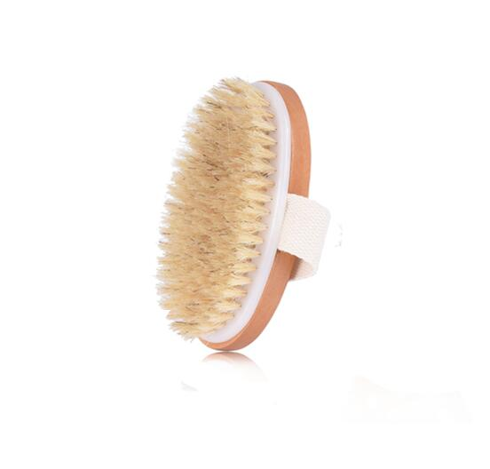 TREESMILE Natural Bristle Bath Brush Exfoliating Wooden Body Massage Shower Brush SPA Woman Man Skin Care Dry Body Brush D40