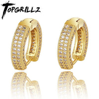 TOPGRILLZ Hip Hop Cubic Zirconia Ice Out Stud Earring Bling Fully Iced CZ Huggie Round Earrings For Men Women Jewelry