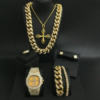 Luxury Men Gold Watch Hip Hop Men Watch & Necklace & Pendant & Bracelet & Ring& Earrings Combo Set Ice out Cuban Hip Hop For Men
