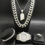 Luxury Men Silver Watch & Necklace & Braclete &Ring Combo Set Ice Out Cuban Crystal Miami Necklace Chain Hip Hop Jewerly For Men