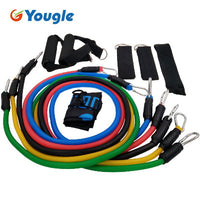 YOUGLE 11pcs/set Pull Rope Fitness Exercises Resistance Bands Latex Tubes Pedal Excerciser Body Training Workout Yoga