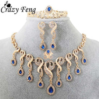 Luxury Fashion African Statement Jewelry Gold-color Water Drop Pendant Necklace Earrings Bangle Ring Jewelry Sets For Women