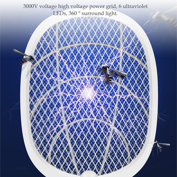 3000V Electric Insect Racket Swatter Zapper USB 1200mAh Rechargeable Mosquito Swatter Kill Fly 3 Network Bug Zapper Killer Trap