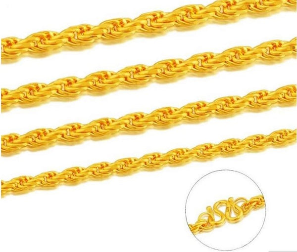 Pure Yellow Gold Rope Necklace/ 24K 999 Gold Heavy designer Necklace 6.8g