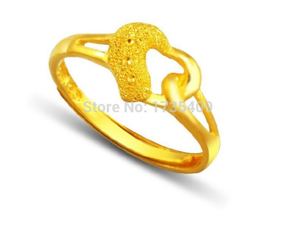 3.2G Solid 999 24K Yellow Gold / Perfect Heart Design Ring