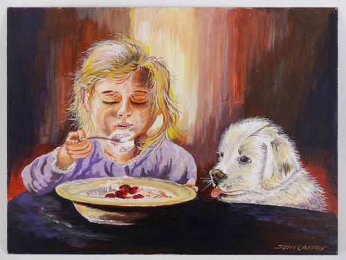 Child and Hungry Dog Painting