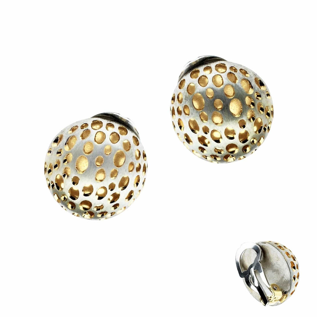 Beata Earrings SS Vermeil Dome Clip Er