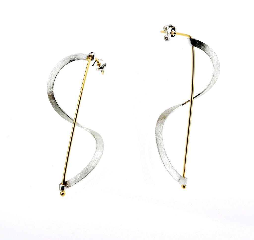 Beata Earrings Sterling & Vermeil Swirl Er