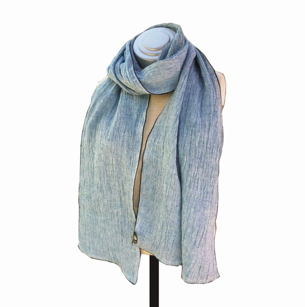 Caron Miller Wraps & Scarves Denim Crush Linen Wrap
