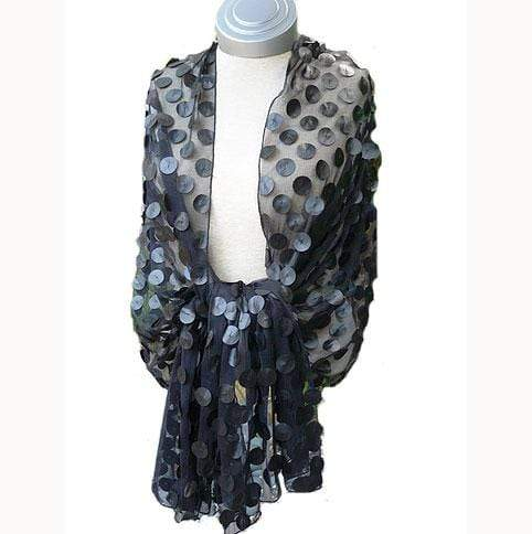 Caron Miller Wraps & Scarves Pleather Dot Wrap in Black