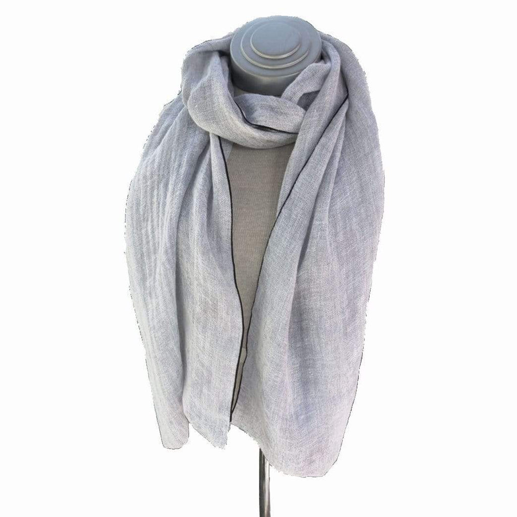 Caron Miller Wraps & Scarves Soft Grey Ombre Linen Wrap