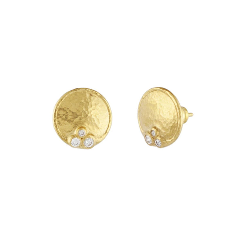 Gurhan Earrings 22K & Diamond Button Earrings