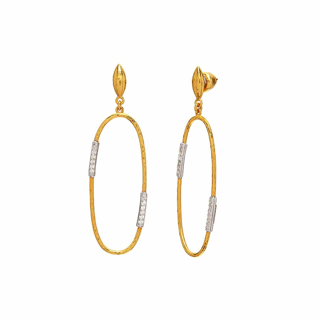 Gurhan Earrings Geo Diamond Oval 22K Earrings