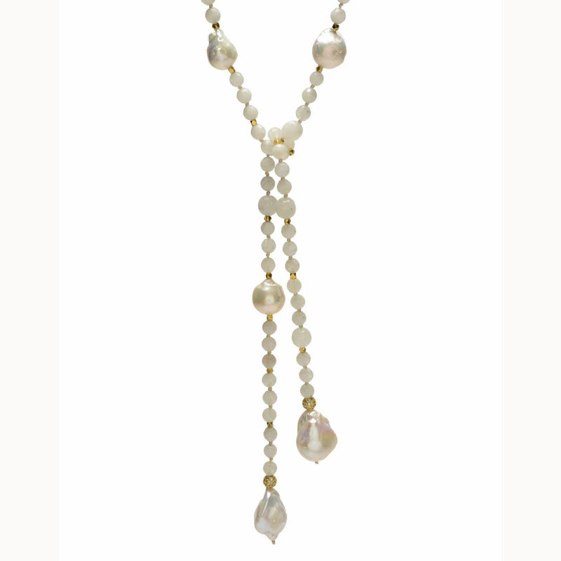 In2Design Necklaces Alice Pearl/Moonstone Lariat Necklace