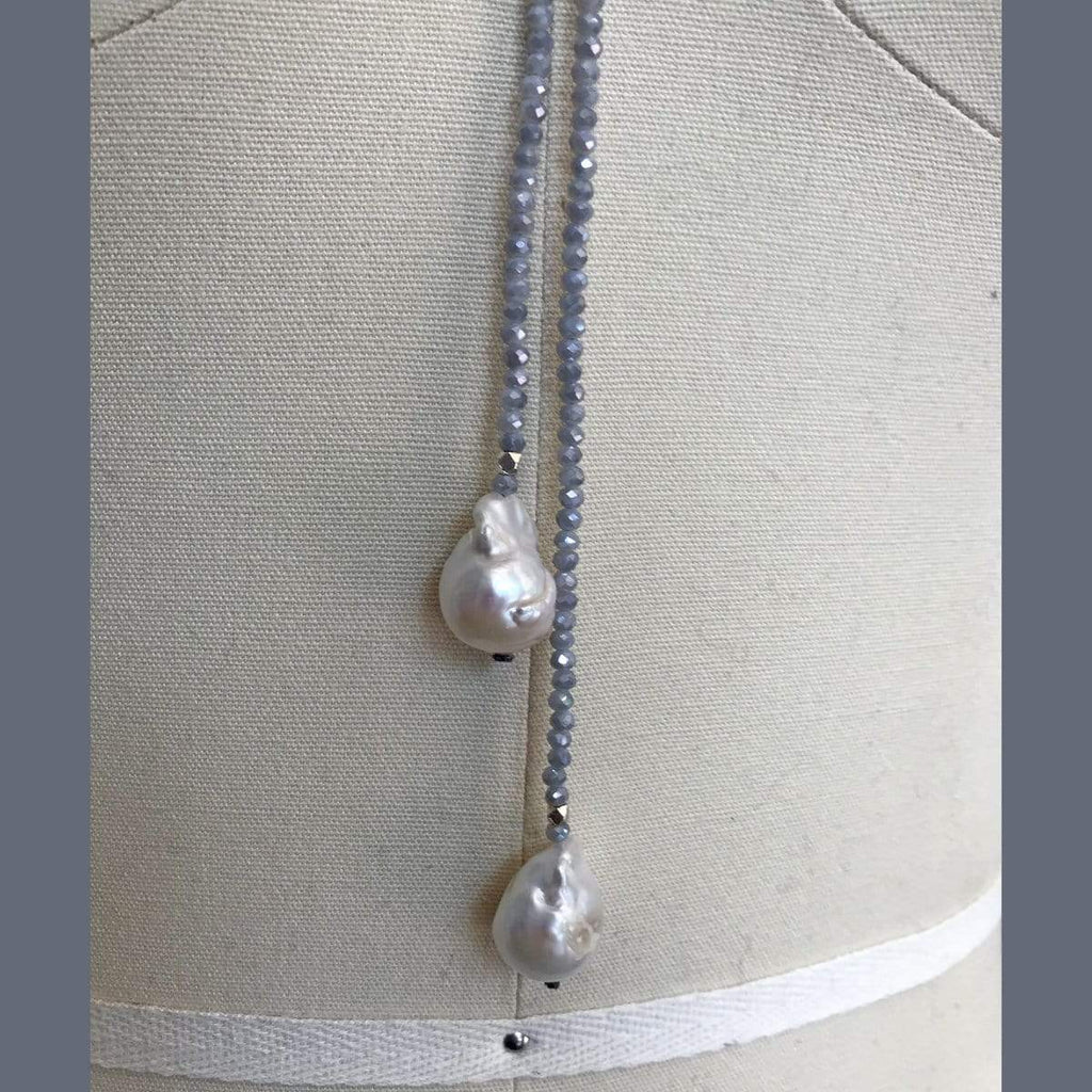 in2Design Necklaces Petra Denim Swarovski/Pearl Lariat