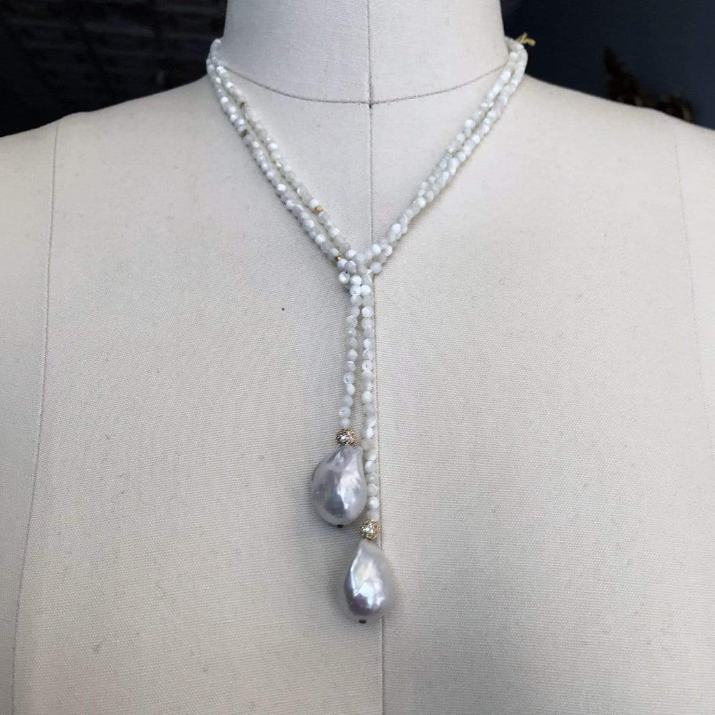 In2Design Necklaces White Moonstone & Pearl Lariat Necklace