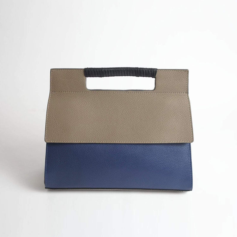 Italian Leather Leather Goods Adriana Blue & Taupe Handbag